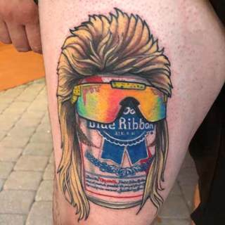 Tattoo: Pabst Blue Ribbon beer can with a mullet and Oakley shades
